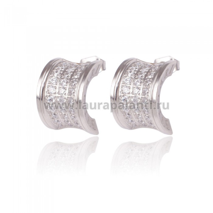 "Серьги BVLGARI ""B.Zero1 Pavé Diamond Earrings (white gold)"""
