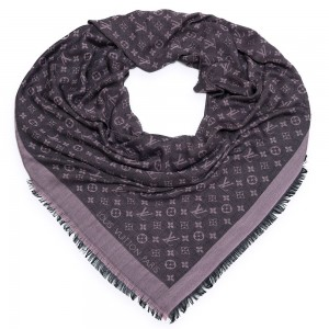 "Шаль Louis Vuitton ""Monogram Black & Pink Denim"" черная с розовым"