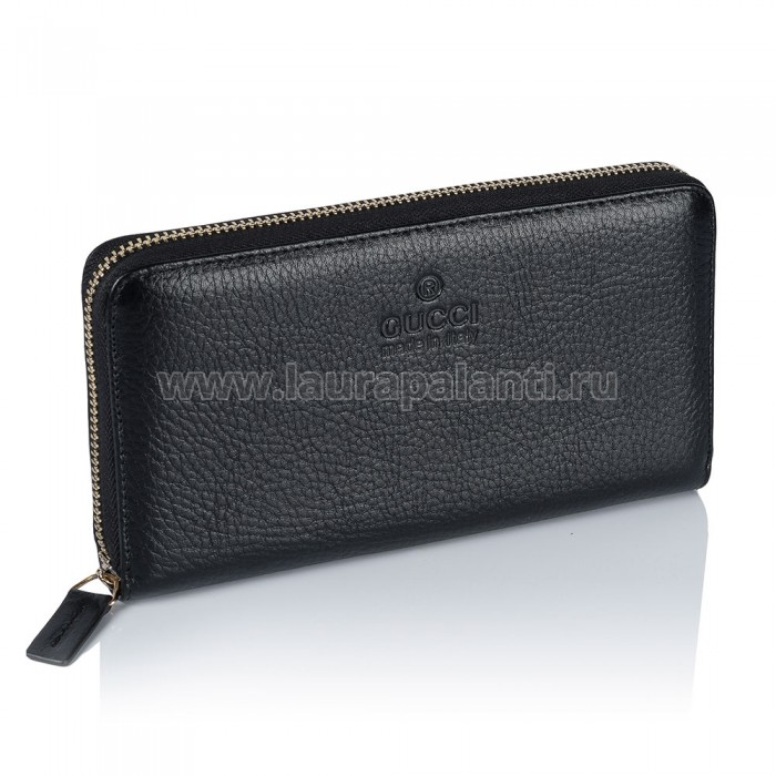 "Портмоне Gucci ""Black Leather Zip Around Wallet"", черное"